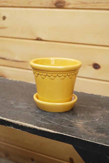 Bergs Small Kobenhavner Pot w/Saucer in Yellow