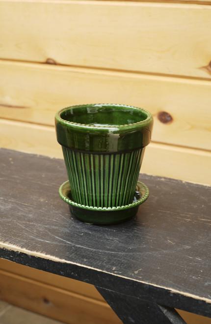 Bergs Small Simona Pot w/Saucer in Green