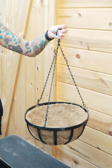 """14"""" Forged Hanging Basket with Coco Liner"""
