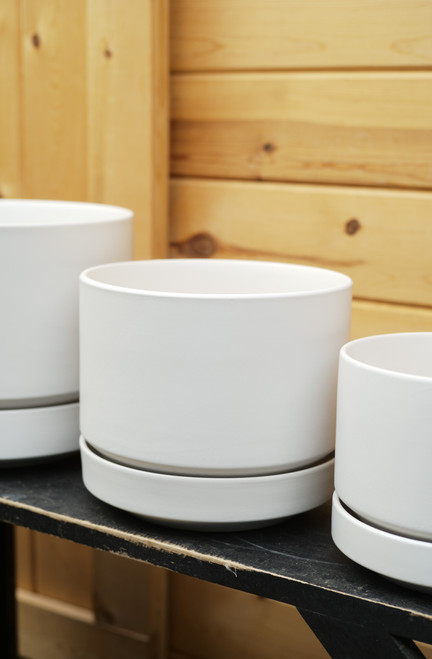 """8"""" Round Pot with Saucer in White"""
