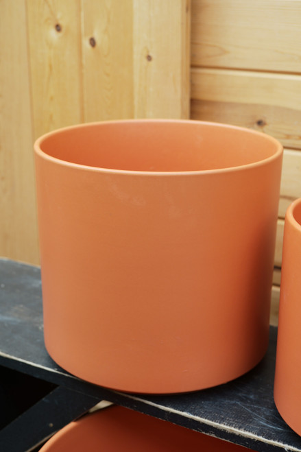 "12"" Ceramic Cylinder Pot in Rust"
