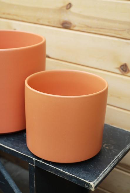 "8"" Ceramic Cylinder Pot in Rust"