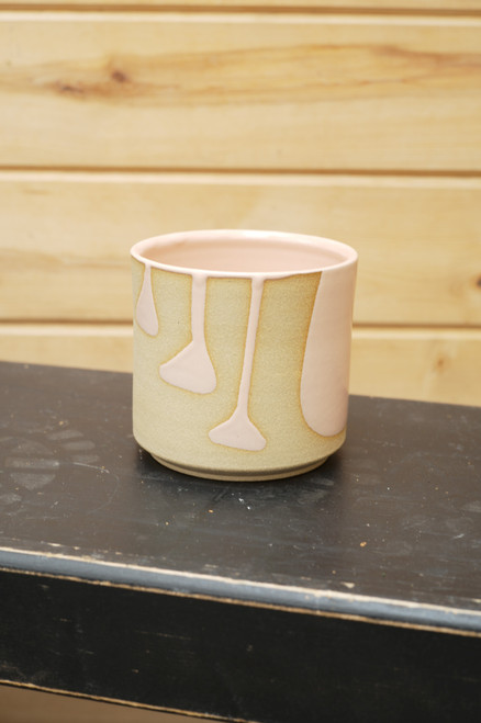 Sandwich Column Accented Planter in Coral