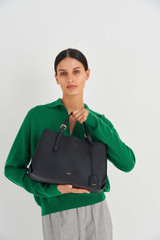 Oroton Margot Medium Day Bag in Black and Pebble Leather for female