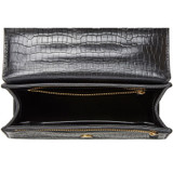 Oroton Forte Slim Clutch in Black Texture and Croc Effect Leather for female