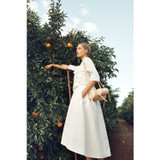 Oroton Cotton-Linen Boxy Double Breasted Jacket in White and 57% Cotton 43% Linen for female