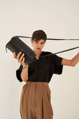 Oroton Margot Drum Bag in Black and Pebble Leather for female