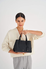 Oroton Margot Mini Day Bag in Black and Pebble Leather for female