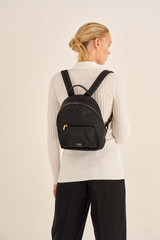 Oroton Ella Backpack in Black and Nylon / Pebble Leather for female