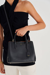 Oroton Muse Small Three Pocket Day Bag in Black and Saffiano And Smooth Leather for female
