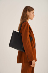 Oroton Muse Square Tote in Black and Saffiano And Smooth Leather for female