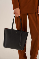 Oroton Muse Small Square Tote in Black and Saffiano And Smooth Leather for female
