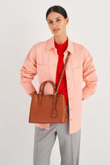Oroton Muse Small Three Pocket Day Bag in Cognac and Saffiano And Smooth Leather for female