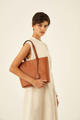 Oroton Muse Small Square Tote in Cognac and Saffiano And Smooth Leather for female
