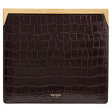 Oroton Yvette Texture Square Clutch in Chocolate Texture and Croc Effect Leather for female