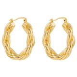Oroton Luna Medium Hoops in Gold and Brass Base Metal With Precious Metal Plating for female