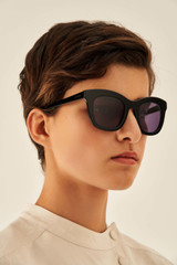 Oroton Isabelle Sunglasses in Black/Smoke and Acetate for female