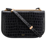 Oroton Sylvie Texture Day Clutch in Black Texture and Croc Emboss Leather/Smooth Leather for female
