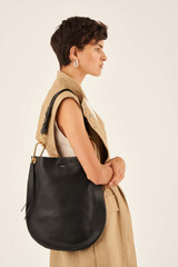 Oroton Lyla Hobo in Black and Pebble Leather for female