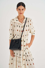 Oroton Margot Mini Bucket Bag in Black and Pebble Leather for female