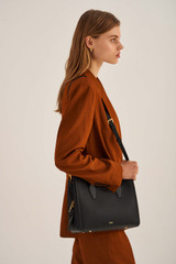 Oroton Mila Medium Day Bag in Black and Pebble Leather/Smooth Leather for female