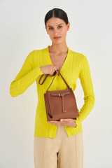 Oroton Margot Mini Bucket Bag in Whiskey and Pebble Leather for female