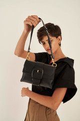Oroton Frida Medium Satchel in Black and Smooth Leather for female