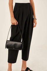 Oroton Muse Texture Baguette Bag in Black Texture and Croc Effect Leather for female