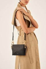 Oroton Lyla Mini Day Bag in Black and Pebble Leather/Smooth Leather for female