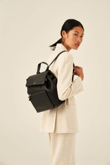 Oroton Lucy Small Backpack in Black and Pebble Leather for female