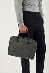 Oroton Harry Signet Griptop in Charcoal and Printed Saffiano PVC/ Smooth Leather Trims for male
