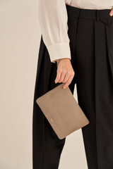 Oroton Lucy Medium Pouch in Stone and Pebble Leather for female