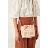 Oroton Harriet Print Small Bucket Bag in Caramel and Printed Saffiano PVC/Vachetta Leather Trims for female