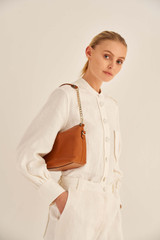 Oroton Nina Crossbody in Cognac and Soft Pebble Emboss for female