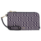 Oroton Harriet Signature Phone Wristlet Wallet in Midnight Blue and Printed Saffiano PVC/Vachetta Leather Trims for female