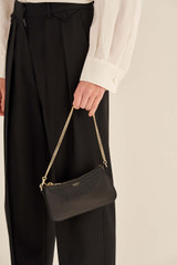Oroton Atlas Wristlet Clutch in Black and Pebble Leather for female