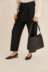 Oroton Byron Large Hobo in Black and Pebble Leather for female