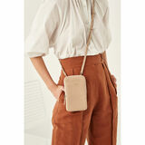 Oroton Lucy Phone Crossbody in Praline and Pebble Leather for female