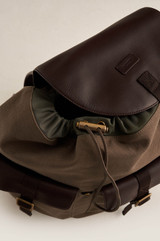 Oroton Kit Backpack in Khaki and Coated Canvas/ Smooth Leather for male