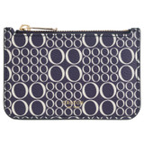 Oroton Harriet Signature Credit Card Holder in Midnight Blue and Printed Saffiano PVC/Saffiano Leather for female