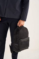 Oroton Otto Nylon Rounded Backpack in Black and Nylon Fabric/Pebble Leather for male
