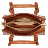 Oroton Atlas Small Day Bag in Cognac and Pebble Leather Fused With Saffiano Leather for female