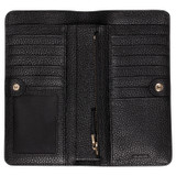 Oroton Lucy Fold Over Wallet in Black and Pebble Leather for female