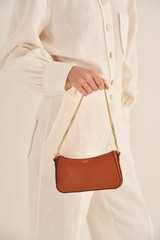 Oroton Atlas Wristlet Clutch in Cognac and Pebble Leather for female