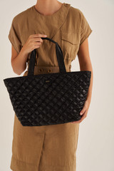 Oroton Cloud Tote in Black and Quilted Nylon for female