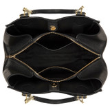 Oroton Nina Three Pocket Day Bag in Black and Soft Pebble Leather for female