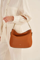 Oroton Nina Zip Top Hobo in Cognac and Soft Pebble Emboss for female