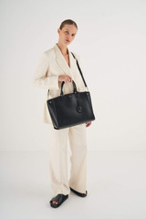 """Oroton Inez 15"""" Zip Around Worker Tote in Black and Shiny Soft Saffiano for female"""