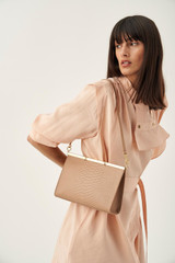 Oroton Cassia Texture Medium Shoulder Bag in Praline Texture and Snake Embossed Leather for female