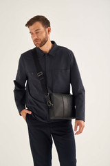 Oroton Eton Small Satchel in Black and Saffiano/Smooth Leather for male